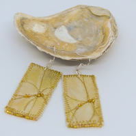 Yellow silk and beaded earrings