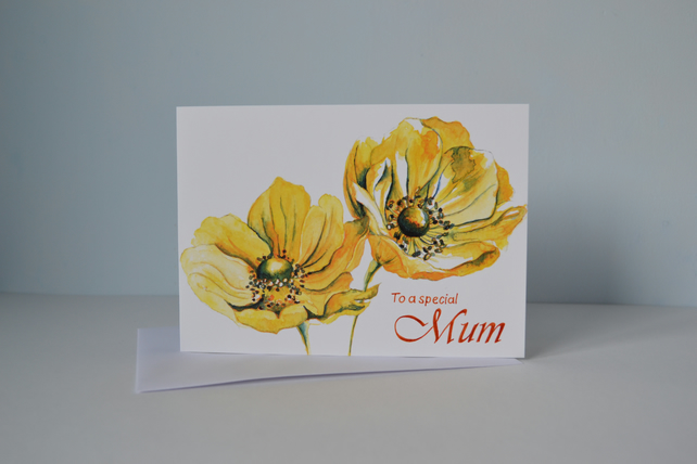 Hand painted 'Special Mum' card - Yellow Anemone Flowers, blank inside