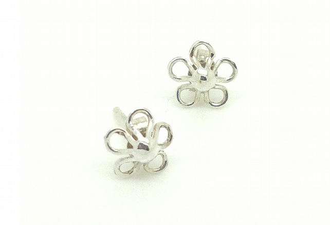Pretty floral studs  - sterling silver