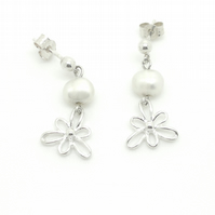 Iris Flower Sterling Silver Pearl Drop Earrings