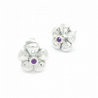 Sterling silver & Amethyst Flower Earrings - Bouquet Collection
