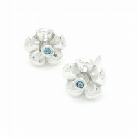 Blue Topaz & Sterling Silver Flower Earrings - Bouquet Collection