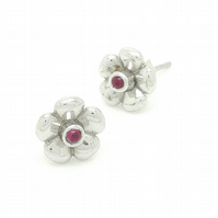 Sterling Silver & Garnet Bouquet Collection Flower Earrings