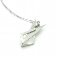 Sterling silver triangle pendant set with CZ