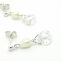 Freshwater pearl and quartz drop earrings