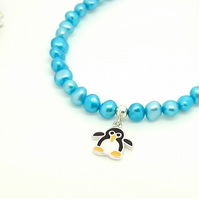Penguin Winter Pearl Children's Bracelet