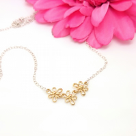 18ct gold plated, sterling silver Iris Flower Necklace