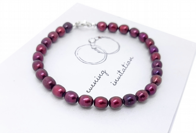 Sterling Silver Berry Red Pearl Bracelet