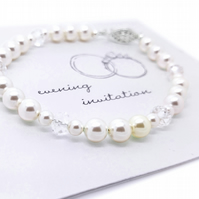 Swarovski Pearl and Crystal Sterling Silver Bracelet