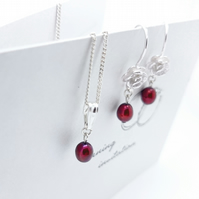 Sterling Silver Red Pearl Earrings and Necklace Set