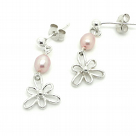 Iris Flower Pearl Drop Earrings Sterling Silver