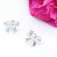 Bow Stud Earrings Sterling Silver