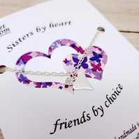 Sterling silver heart bracelet - Sisters by heart, friends by choice