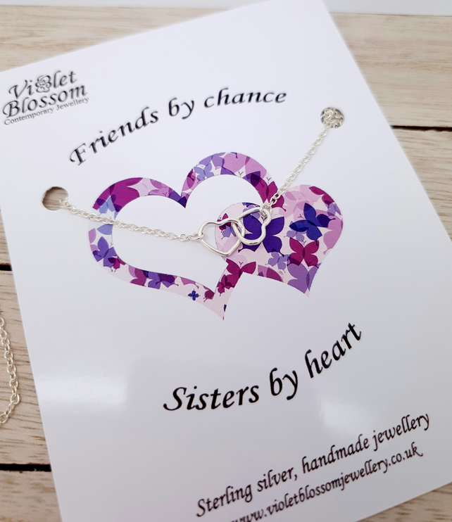 Sterling silver double heart necklace - friends by chance, sisters by choice