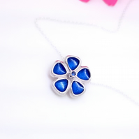 Sterling silver, sapphire and Enamel Flower Pendant