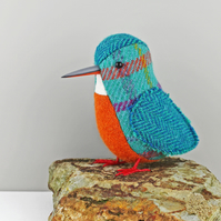 Tweed Fabric Bird Sculpture, handmade figurine KINGFISHER - Made to Order