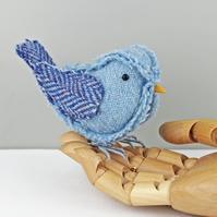 Tweed Fabric Chick Baby Bird Sculpture, handmade figurine BLUE - Made to Order