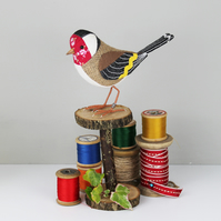 Fabric Bird Sculpture - Goldfinch - Made to Order