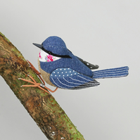 Fabric Bird Sculpture - Nuthatch - Made to Order