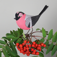Fabric Bird Sculpture - Bullfinch - Made to Order
