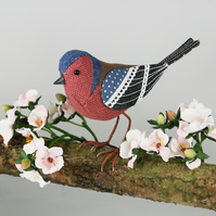Fabric Bird Sculpture - Chaffinch - Made to Order