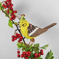 Fabric Bird Sculpture - Yellowhammer - Made to Order