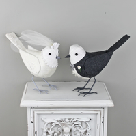 Fabric Birds, Wedding Cake Toppers, Made to Order
