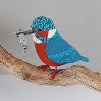 Fabric Bird Sculpture - Kingfisher with Fish - Made to Order