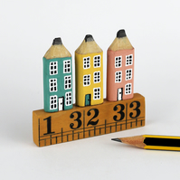Miniature Pencil Townhouses. Wooden Street on Vintage Ruler