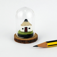 Miniature Glass Display Dome with Tiny Wooden Pencil Cottage