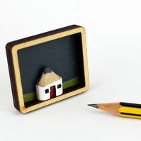 Brooch. Wooden Pencil Cottage in Laser Cut Plywood Frame with Painted Background