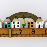 Miniature Pencil Houses. Wooden Street on Vintage Ruler with Brass Protractor.