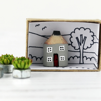 Miniature Wooden House, Grey