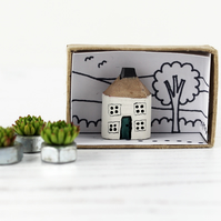 Miniature Wooden House, White