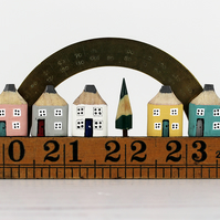 Miniature Pencil Street, Wooden Village with Protractor, Pencil Houses on Ruler