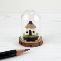 Miniature Pencil House in Glass Dome, Tiny Wooden Croft