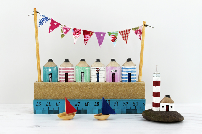 Miniature Beach Huts, Handmade Wooden Beach Huts, Lighthouse with Boats
