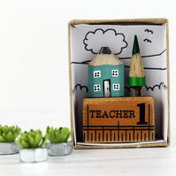 Miniature Pencil House on Ruler, Teacher Gift, Handmade Miniature House,