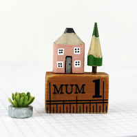 Miniature Pencil House on Ruler, Mother's Day Gift, Gift for Mum, House in Box