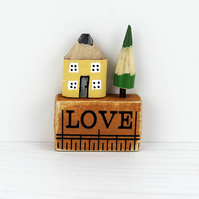 Miniature Pencil House on Ruler, LOVE