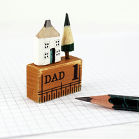 Miniature Pencil House on Ruler, Father's Day Gift, Dad Gift, Miniature House