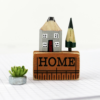 Miniature Pencil House on Ruler, HOME, Miniature House, Housewarming Gift