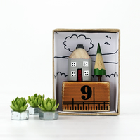 Personalised Miniature Pencil House on Ruler, House Number, Housewarming Gift
