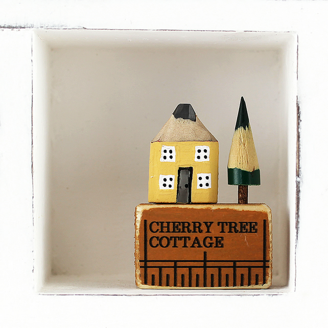 Personalised Miniature Pencil House on Ruler, House Name, Housewarming Gift