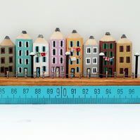 Miniature Pencil Street, Wooden Seafront Townhouses, Wooden Houses on Ruler
