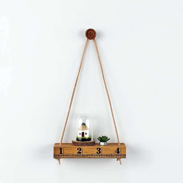 Mini Oak Shelf with Leather Cord