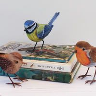 Set of 3 Fabric Garden Bird Sculptures - Blue-Tit, Wren, Robin - Made to Order