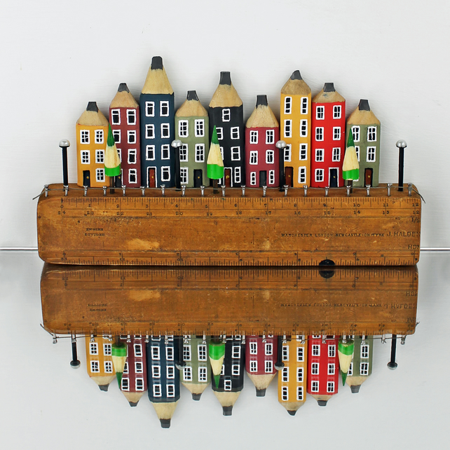 Canal Houses Wooden Sculpture