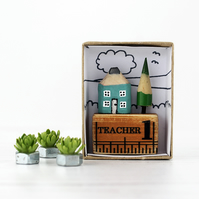 Miniature Pencil House on Ruler, Teacher Gift
