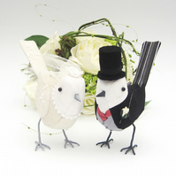 Pair of Personalised Fabric Wedding Bird Cake Toppers